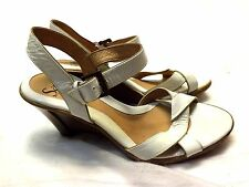 Sofft Women's Shoes Wedge Platform Heels Strap Sandals, 7 M White Patent