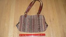 Fossil  tapestry shoulder bag No 75082 Multi color earth tones with leather trim