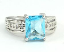 Women's 10 Carat White Gold Filled Ice Blue Crystal Ring Jewellery UK Size P