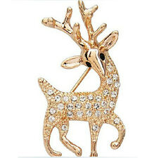 Gold Christmas Deer Small Brooch with White Rhinestones Pin Gift BR129