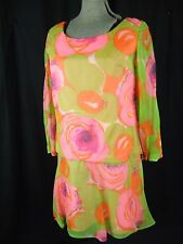 Vtg 60s Vibrate Green/Pink Floral Chiffon Layers Dress- Bust 36.5/XS-S
