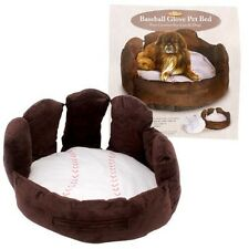 NEW - Baseball Glove Dog Cat Pet Bed Brown White Sofa Super Soft Luxury