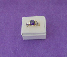 PURPLE ROUND CZ COCKTAIL RING - ART CARVED BAND - TWO TONE SILVER/GOLD - SIZE 7