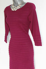 *MONSOON*Raspberry Knitted 3/4 Sleeve Knee Length Tunic Jumper Dress size-M