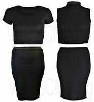 Womens Ladies Stylish Bubble Embossed Ruched Knee Length Skirt Pencil & Crop Top