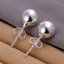 NEW Women 1 pair Plating 925 Silver 8mm Bead Ball Stud Earrings NF