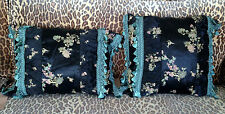 Pair of Satin chinoiserie print pillows with trim  - handmade. OOAK