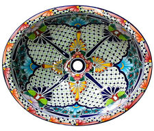 #100 SMALL BATHROOM SINK 16x11.5 MEXICAN CERAMIC HAND PAINT DROP IN UNDERMOUNT