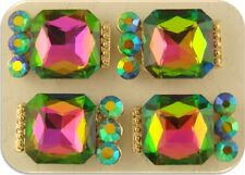 2 Hole Beads Aurora Borealis Glass Facets & Swarovski Crystal Elements QTY 4