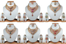 New Wholesale Lot Of 6 Kundan Stylish Bollywood Gold Tone Fashion Jewelry 6H9