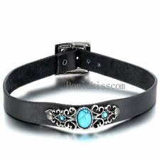 Retro Black Leather Choker Mens Womens Unisex Necklace w Manmade Turquoise Charm