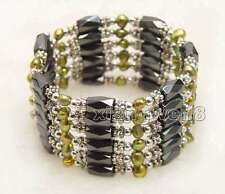 SALE 4-5mm Baroque Brown Natural Pearl with Hematite Magnetic 38'' Bracelet-353