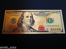 ▓▒░ NEW Pure 24K Gold Plated Colored $100 ░▒▓ Bank note Dollar Bill w/ PVC Frame