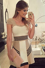 Mini Abito nudo righe gonna top scollo aderente Nude Sexy Stripes Skater Dress M