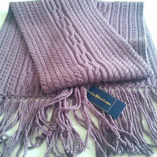 RALPH LAUREN POLO CASHMERE & WOOL Fringed Grape Aran Scarf NEW