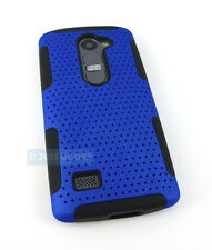 FOR LG POWER L22C DESTINY L21G BLUE BLACK PERFORATED NET HYBRID CASE PHONE COVER