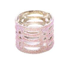 Lindo Dama Retro Inspirado opone Declaración Incrustado con brillo rosa anillo (Zx58)