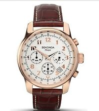 Sekonda Classique Rose Gold Watch White Dial Chronograph Leather Strap 3063.28