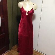 NWOT ERIKA TAYLOR Solid RED Satin LONG NIGHTGOWN SIZE S FLORAL PRINT