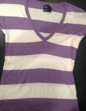 Woman's XL American Eagle Purple/White Striped Short Sleeve V Neck Sweater