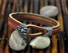 S364 Surfer Men's Cool Wolf Clasp Leather Bracelet Wristband Cuff BROWN