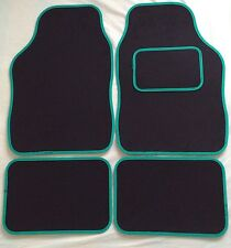 CAR FLOOR MATS FOR NISSAN JUKE LEAF MICRA NOTE X-TRAIL- BLACK WITH GREEN TRIM