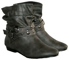 LADIES GREY ANKLE BOOT WITH BUCKLE ANKLE STRAP AND STUD TRIM IN SIZE 3