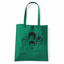 Art T-shirt, Borsa shoulder Queen Faces, Verde, Shopper, Mare