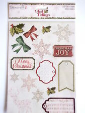 Dovecraft Glad Tidings Christmas A5 Glitter stickers - snowflakes , bows , tags