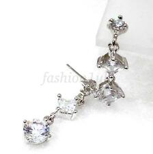 fashion1uk Clear Simulated Diamond White Gold Plated Dangle Earring