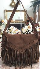 NWT Mania Fringe Studded Brown Suede Tassel Shoulder bag Made In Italy