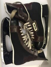 Bauer Ice Hockey Skates Black Fabric Brown Vinyl Men's Vintage Made In Canada