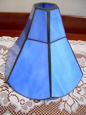 Vintage Style Blue Leaded Glass Light Lamp Shade