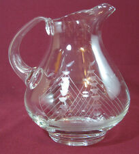 Etched Nautical Glass Water Pitcher, NEW Unused, Schooner Ship, Handle