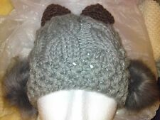 Ladies/girls thick cabled beanie hat with earmuffs and ears. Grey.