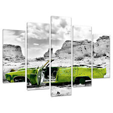 Five Part 5 Canvas Lime Green Boys Bedroom Wall Art Cars 5143