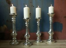 1 Antique Silver Candlestick Candle Holder. Mercury Glass - Small Nkuku Dema