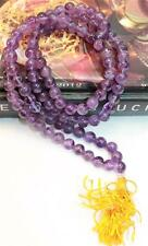 F680 Tibetan 108 Prayer Mala Amethyst Glass Bead for Meditation Made in Nepal