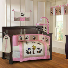 10 Piece Monkey Girls Baby Crib Bedding Pink cute set with Musical Mobile