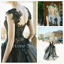 New Black Lace Wedding dress Bridal Gown Formal Prom Quinceanera Dress Ball Gown