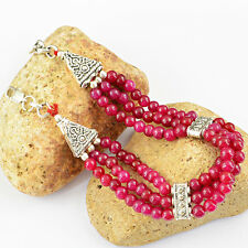 BREATHTAKING QUALITY 134.80 CTS EARTH MINED RED RUBY ROUND BEADS BRACELET PAYPAL