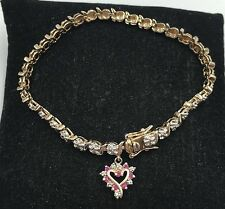 """Gold-Plated Sterling Silver 925 Tennis Bracelet 7"""" w/ Ruby Heart Charm"""
