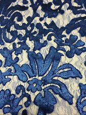 Royal Blue Beyonce Floral Fashion With Sequins Lace Fabric Sold By Yard