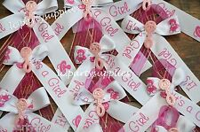 12 Pins Baby Shower Corsage It's A Girl Pink Ribbon DIY Party Favors Decoration