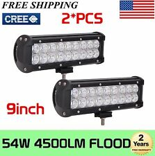2X 54w 9Inch CREE Led Work Light Bar Flood Beam Offroad Driving Truck SUV 4WD 10