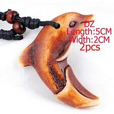 b481520 Free Shipping Vivid Carved Dolphin Ethnic Yak Horn Bone Pendant Necklace