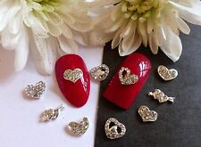 3D Nail Art *Silver Hearts Mix* Rhinestones Diamante Hearts Metallic Tip Gem