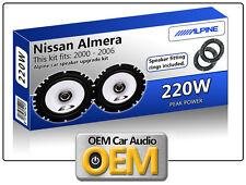 Nissan Almera Front Door speakers Alpine car speaker kit with Adapter Pods