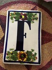 "Ceramic Tile Hand Painted w ""F"" Initial. 4""x 6"" New!"