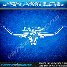*NEW DESIGN R.M WILLIAMS Longhorn Sticker Decal for 4x4,4WD,Ute,Truck,RMW